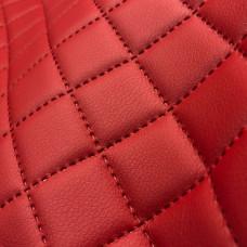 Экокожа термопайка (термостежка) красная 1 мм, ППУ5 мм+сетка, ромб 3,5х3,5 см