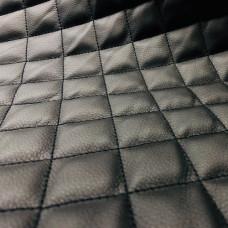 Экокожа стеганая черная 0,85 мм, ппу 5 мм сетка, нитки черные
